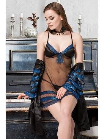 Mite Love Satenli Tül Gecelik ve Sabahlık Mavi Takım ML-9444