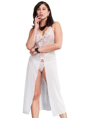 Mite Love Uzun Tül Gecelik Gül Desenli Seksi Giyim ML-9628