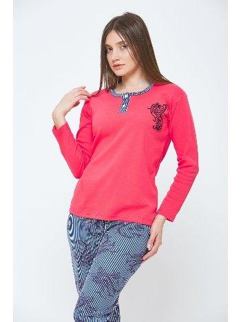Nar Çiçeği Kışlık Uzun Kol Penye Pijama Takımı Estiva 20302