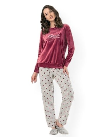 NBB 66645 Magic Bordo Kadife Pijama Takım
