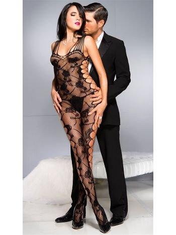 Nightlight Gül Desenli Fantazi Vücut Çorabı 5033
