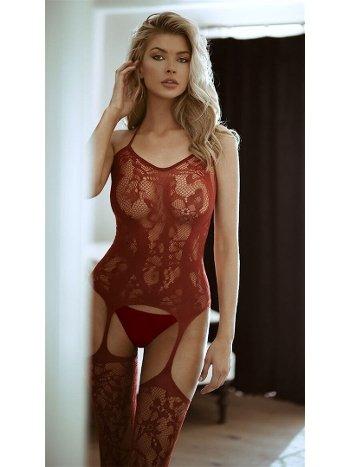 NightLight Kadın Kırmızı Jartiyerli Fantazi Vücut Çorabı 5042