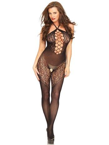 NightLight Kadın Siyah Göğüs Detaylı Özel Bölgesi Açık Fantazi Vücut Çorabı 5053