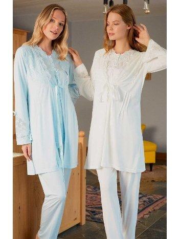 Nilüfer Sabahlıklı Lohusa Pijama Takımı Bone Club 5101