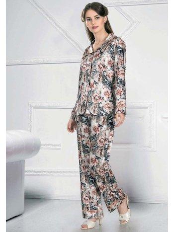 Öden Düğmeli Uzun Kollu Pijama Takımı FLZ 89-459