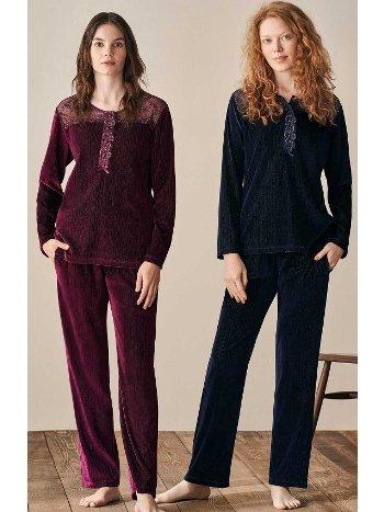 Omuz Dantel Kadife Pijama Takımı Feyza 3928