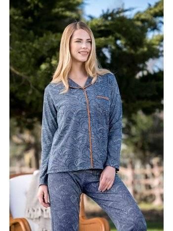 Önden Düğmeli 2'li Viskon Kadın Pijama Takımı Yeni İnci BPJ1614