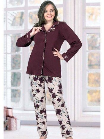 Önden Düğmeli Büyük Beden Pijama Takım FLZ B89-27
