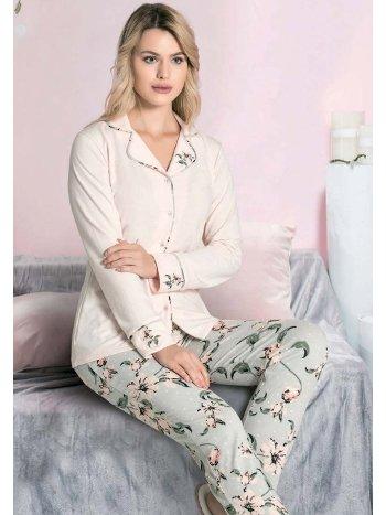 Önden Düğmeli Çiçek Desen Kışlık Pijama Takım FLZ 89-471