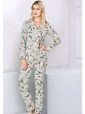 Önden Düğmeli Çiçek Desen Uzun Kol Kışlık Pijama Takım FLZ 89-470