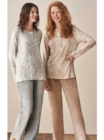 Önden Düğmeli Çiçek Desenli Pijama Takımı Feyza 3913