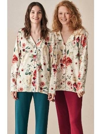 Önden Düğmeli Çiçek Desenli Pijama Takımı Feyza 3932