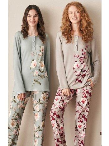 Önden Düğmeli Çiçek Desenli Pijama Takımı Feyza 3944