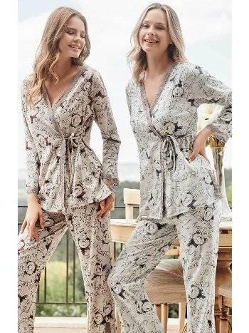 Önden Düğmeli Kimono Lohusa Pijama Takımı Bone Club 5113