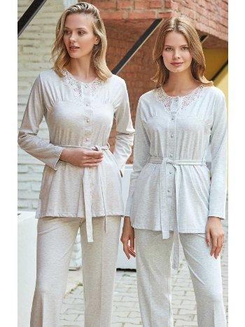 Önden Düğmeli Kimono Lohusa Pijama Takımı Bone Club 5117