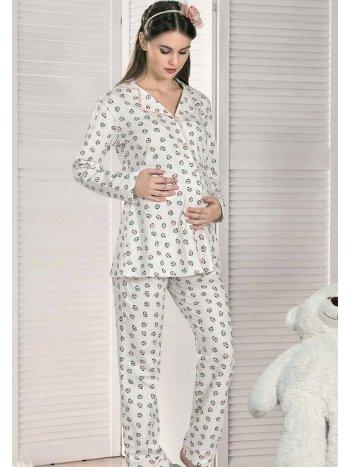 Önden Düğmeli Lohusa Hamile Pijama Takımı FLZ 24-335