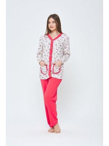Önden Düğmeli Penye Büyük Beden Pijama Takımı Estiva 20312