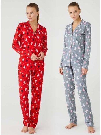 Önden Düğmeli Pijama Takımı Mod Collection 3385