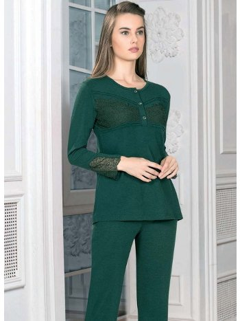 Önden Düğmeli Uzun Kol Pijama Takım Kışlık FLZ 89-450