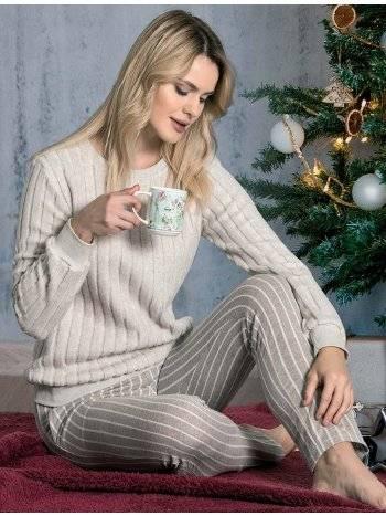 Örme Düz Şeritli Kışlık Pijama Takımı Dowry 09-865