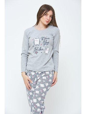 Penye Kadın Kışlık Pijama Takımı Estiva 20304