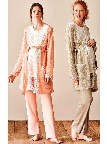 Puantiye Dokuma Sabahlıklı Lohusa Hamile 3lü Pijama Takımı Feyza 3945