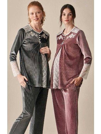 Rosemond Kadife Hamile Lohusa Pijama Takımı Feyza 3922