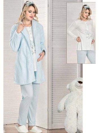 Sabahlıklı 3lü Lohusa Hamile Pijama Takım FLZ 31-340