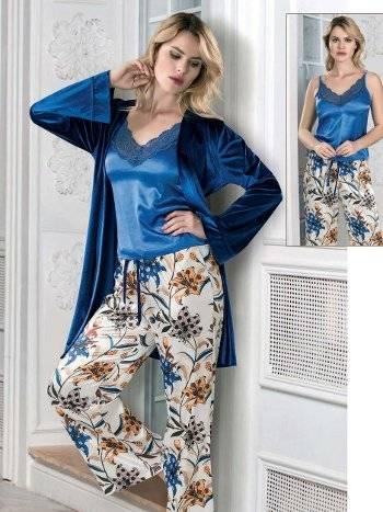 Saten Sabahlıklı Çiçekli Pijama Takım FLZ 31-348