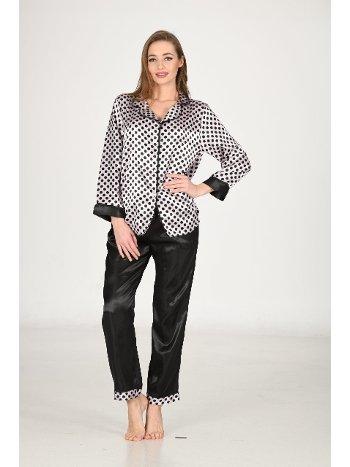 Siyah Beyaz Puanlı Saten Pijama Takım Sistina 1617