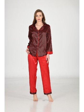 Kırmızı Puanlı Saten Pijama Takım Sistina 1618