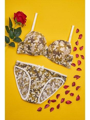 Sütyen Külot Takım Kamuflaj Kadın iç Giyim ML-9815