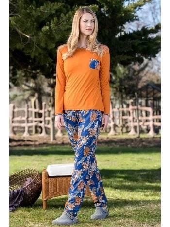 Tarçın 2'li Viskon Kadın Pijama Takımı Yeni İnci BPJ1584