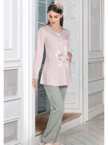 Tavşan Desenli Hamile Lohusa Pijama Takım FLZ 24-337