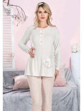 Tavşan Desenli Lohusa Hamile Pijama Takım FLZ 24-344