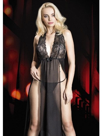 Transparan Yırtmaçlı Tül Seksi Gecelik Takım Erotica 24517