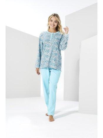 Turkuaz Kışlık Penye Büyük Beden Pijama Takımı Estiva 20307