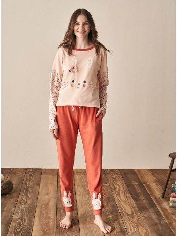 Turuncu Pijama Takımı Feyza 3956