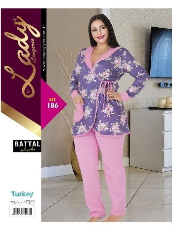 Uzun Kol Kadın Battal Pijama Lady 186