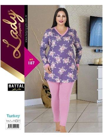 Uzun Kol Kadın Büyük Beden Pijama Lady 187
