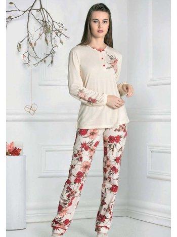 Uzun Kollu Gül Desenli Pijama Takım FLZ 89-468