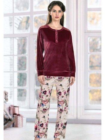 Uzun Kollu Kışlık Kadife Pijama Takım FLZ 89-472