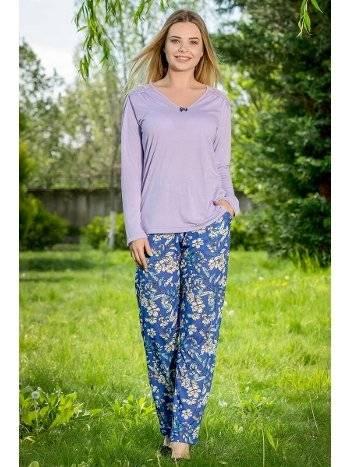 V Yaka 2'li Viskon Kadın Pijama Takımı Yeni İnci BPJ1652