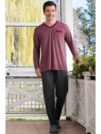 V Yaka 2'li Viskon Süprem Erkek Pijama Takımı Yeni İnci EPJ732