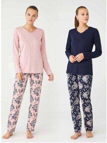 V Yaka Kadın Pijama Takım Mod Collection 3376
