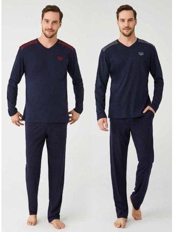 V Yaka %100 Pamuk Erkek Pijama Takım Mod Collection 3344