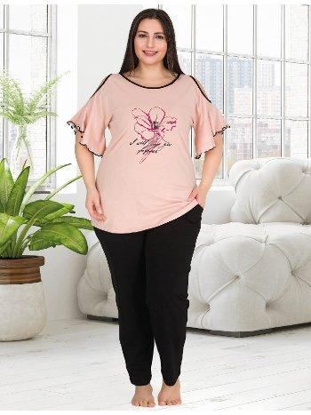 Volanlı Büyük Beden Kadın Pijama Takımı Lady 10783