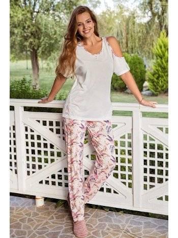 Yeni İnci BPJ1392 Omuz Dekolteli Viskon 2li Pijama Takım