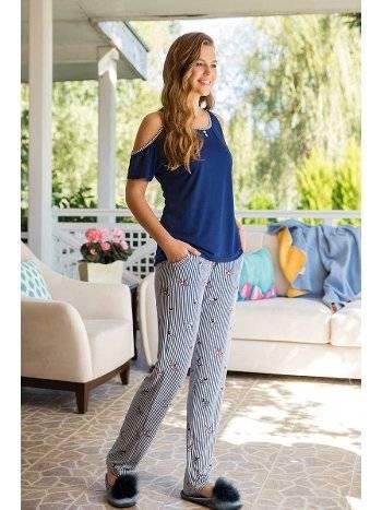 Yeni İnci BPJ1412 Omuz Dekolteli Kadın Pijama Takımı