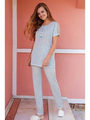 Yeni İnci BPJ1436 Sıfır Yaka Düğmeli Kadın Pijama Takım